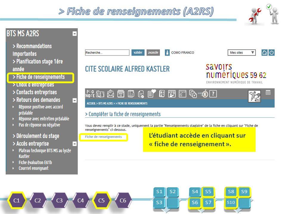 C1 C2 C3 C4 C5 C6 L'étudiant accède en cliquant sur « fiche de renseignement ».