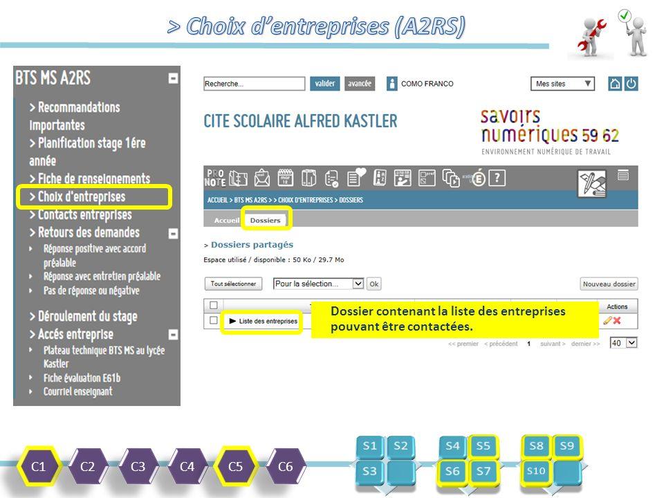 C1 C2 C3 C4 C5 C6 Dossier contenant la liste des entreprises pouvant être contactées.