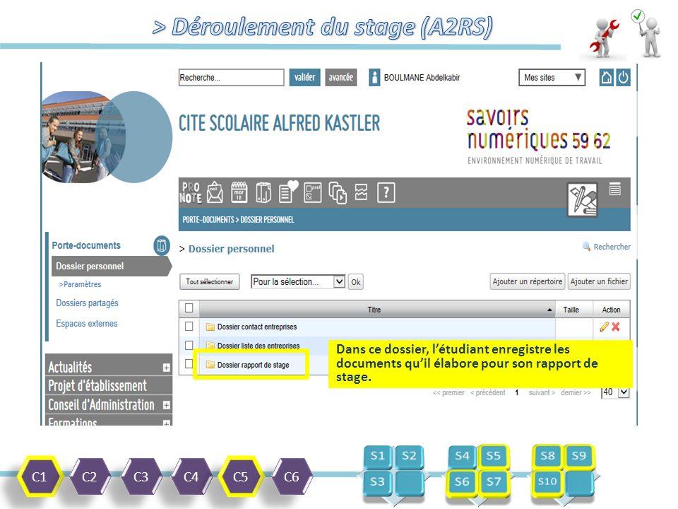 C1 C2 C3 C4 C5 C6 Dans ce dossier, l'étudiant enregistre les documents qu'il élabore pour son rapport de stage.
