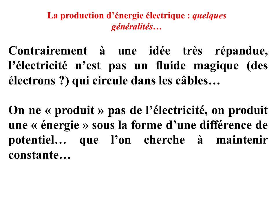La production d'énergie électrique : quelques généralités… Contrairement à une idée très répandue, l'électricité n'est pas un fluide magique (des électrons ?) qui circule dans les câbles… On ne « produit » pas de l'électricité, on produit une « énergie » sous la forme d'une différence de potentiel… que l'on cherche à maintenir constante…