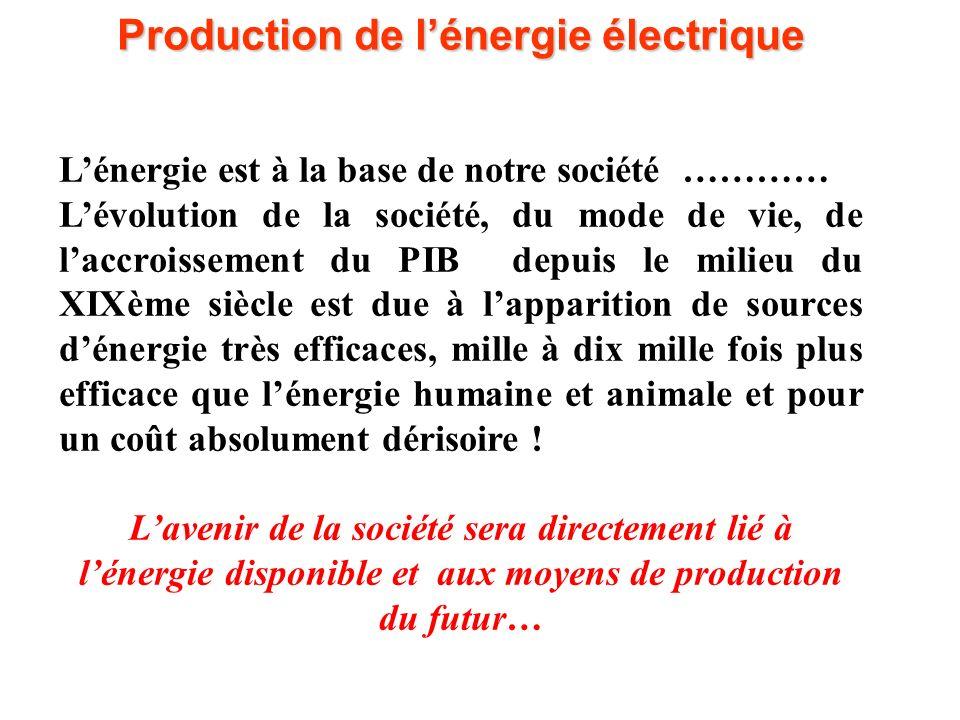 L'un des grands défis du XXIème siècle sera de faire face à la demande croissante d'énergie (et en particulier d'énergie électrique) en gérant les ressources énergétiques existantes ou nouvelles et en respectant l'environnement Production de l'énergie électrique