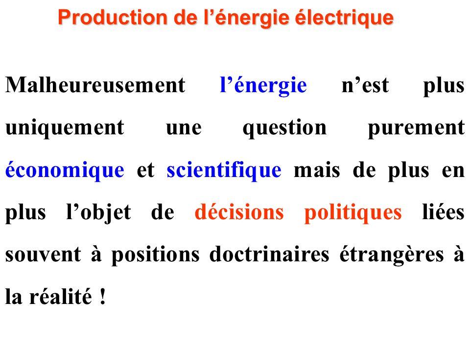 Malheureusement l'énergie n'est plus uniquement une question purement économique et scientifique mais de plus en plus l'objet de décisions politiques liées souvent à positions doctrinaires étrangères à la réalité .