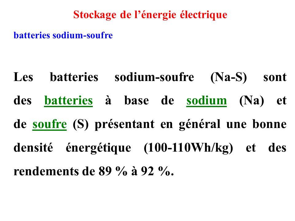 Les batteries sodium-soufre (Na-S) sont des batteries à base de sodium (Na) et de soufre (S) présentant en général une bonne densité énergétique (100-110Wh/kg) et des rendements de 89 % à 92 %.batteriessodiumsoufre batteries sodium-soufre Stockage de l'énergie électrique