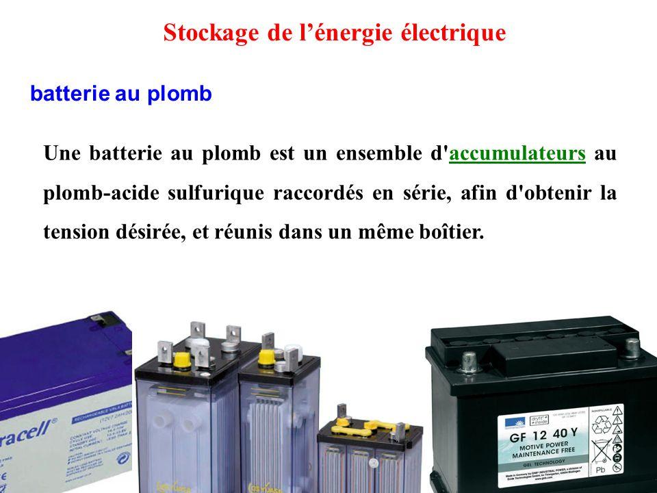 Une batterie au plomb est un ensemble d accumulateurs au plomb-acide sulfurique raccordés en série, afin d obtenir la tension désirée, et réunis dans un même boîtier.accumulateurs batterie au plomb Stockage de l'énergie électrique