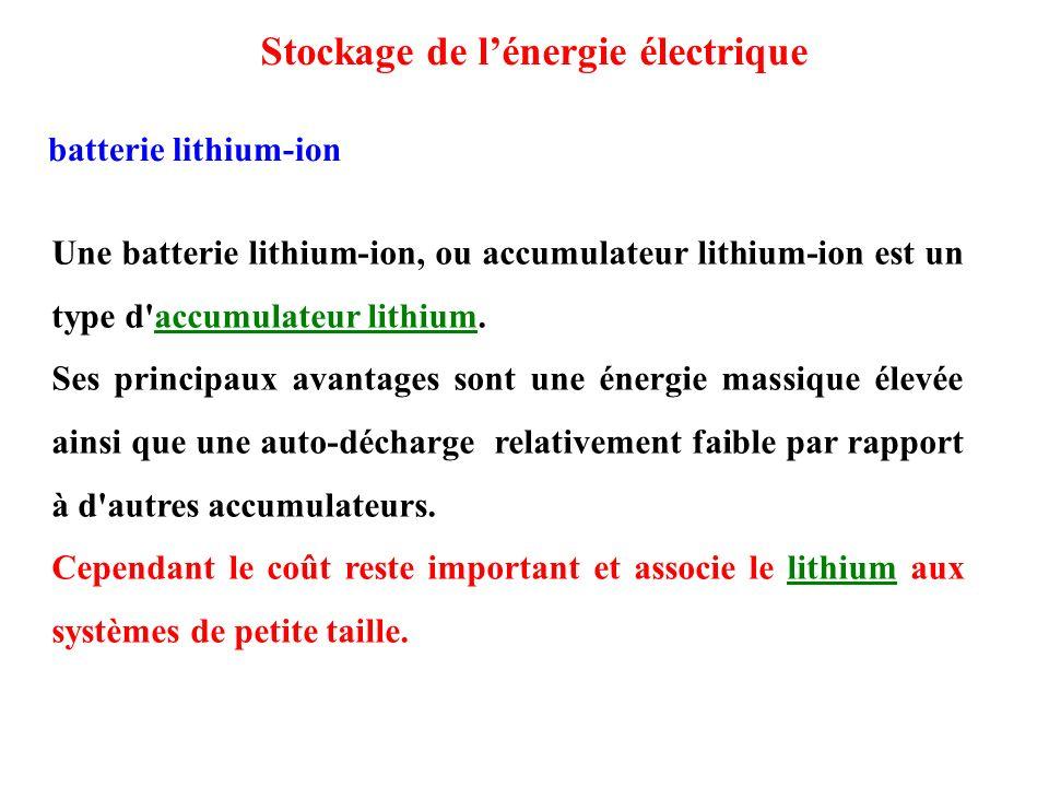 Une batterie lithium-ion, ou accumulateur lithium-ion est un type d accumulateur lithium.accumulateur lithium Ses principaux avantages sont une énergie massique élevée ainsi que une auto-décharge relativement faible par rapport à d autres accumulateurs.