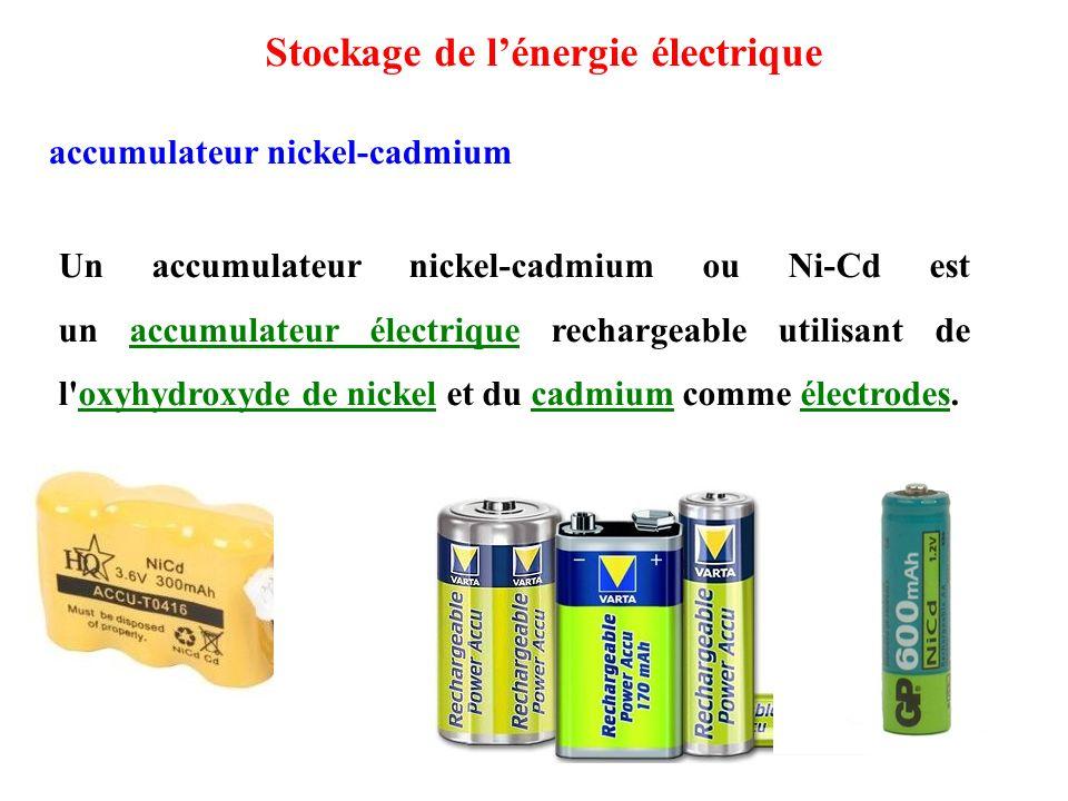 Un accumulateur nickel-cadmium ou Ni-Cd est un accumulateur électrique rechargeable utilisant de l oxyhydroxyde de nickel et du cadmium comme électrodes.accumulateur électriqueoxyhydroxyde de nickelcadmiumélectrodes accumulateur nickel-cadmium Stockage de l'énergie électrique