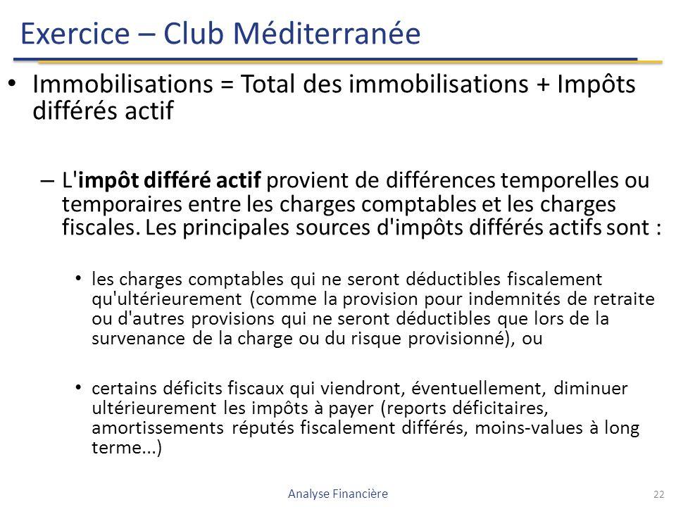 Exercice – Club Méditerranée Immobilisations = Total des immobilisations + Impôts différés actif – L impôt différé actif provient de différences temporelles ou temporaires entre les charges comptables et les charges fiscales.