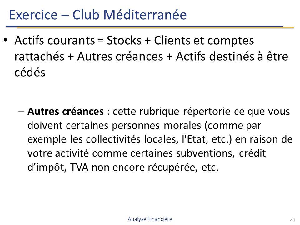 Exercice – Club Méditerranée Actifs courants = Stocks + Clients et comptes rattachés + Autres créances + Actifs destinés à être cédés – Autres créances : cette rubrique répertorie ce que vous doivent certaines personnes morales (comme par exemple les collectivités locales, l Etat, etc.) en raison de votre activité comme certaines subventions, crédit d'impôt, TVA non encore récupérée, etc.