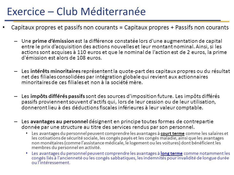 Exercice – Club Méditerranée 25 Capitaux propres et passifs non courants = Capitaux propres + Passifs non courants – Une prime d'émission est la différence constatée lors d une augmentation de capital entre le prix d'acquisition des actions nouvelles et leur montant nominal.