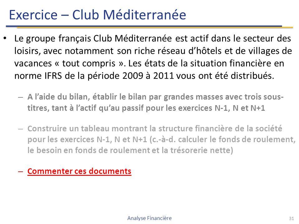 Exercice – Club Méditerranée Le groupe français Club Méditerranée est actif dans le secteur des loisirs, avec notamment son riche réseau d'hôtels et de villages de vacances « tout compris ».