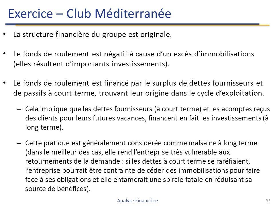 Exercice – Club Méditerranée La structure financière du groupe est originale.