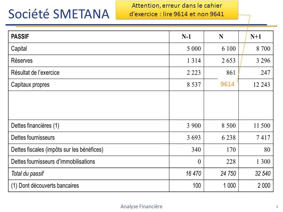 Société SMETANA 4 Analyse Financière 9614 Attention, erreur dans le cahier d'exercice : lire 9614 et non 9641