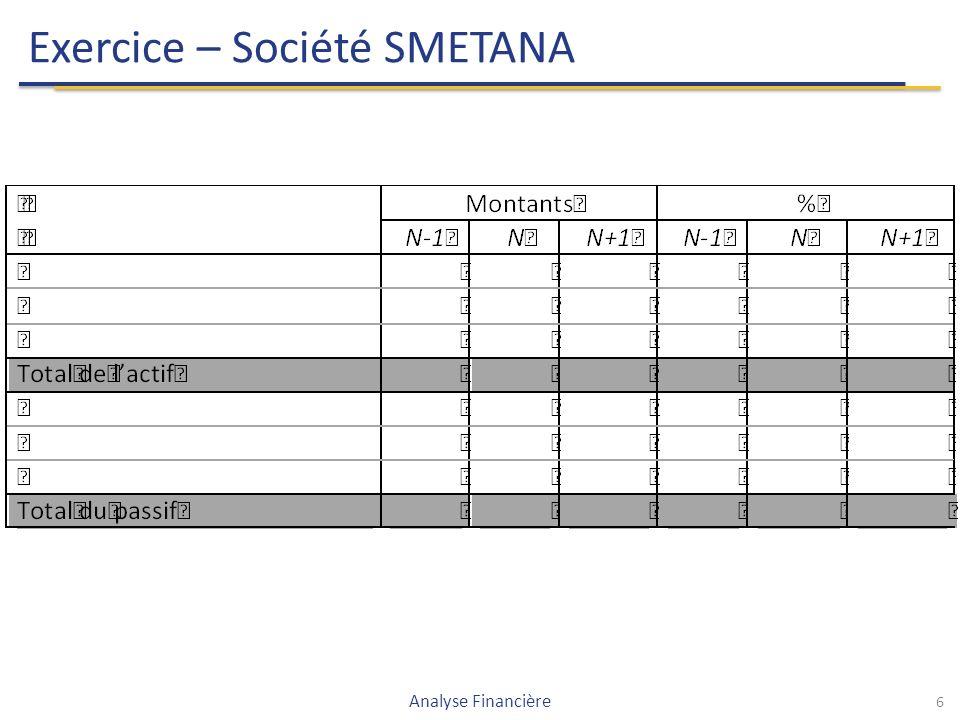 Exercice – Société SMETANA 6 Analyse Financière