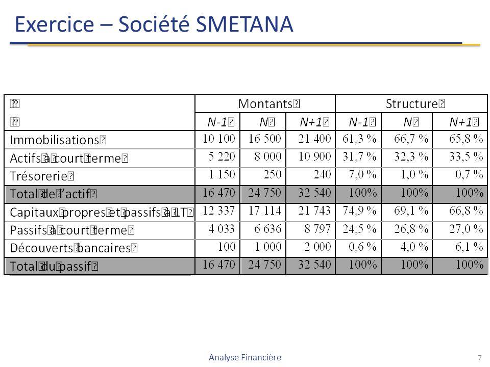 Exercice – Société SMETANA 7 Analyse Financière