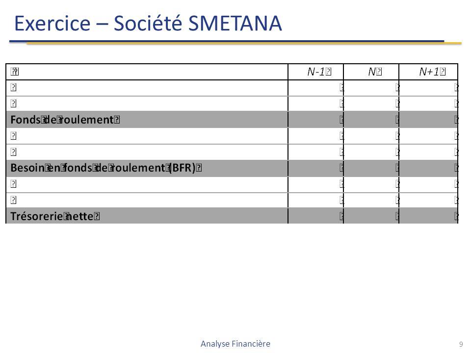9 Exercice – Société SMETANA Analyse Financière
