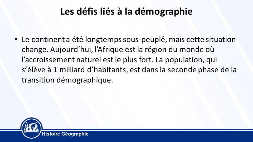 Les défis liés à la démographie Le continent a été longtemps sous-peuplé, mais cette situation change.