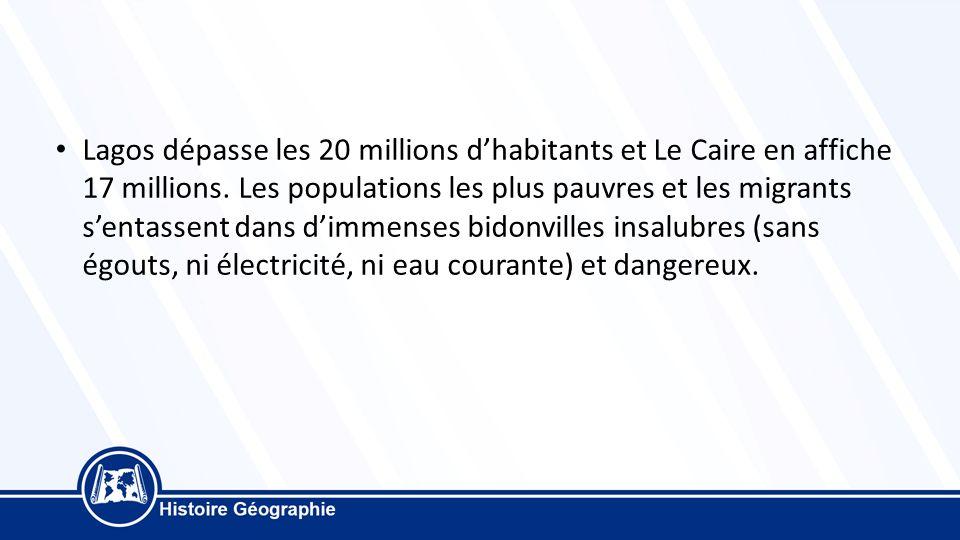 Lagos dépasse les 20 millions d'habitants et Le Caire en affiche 17 millions.