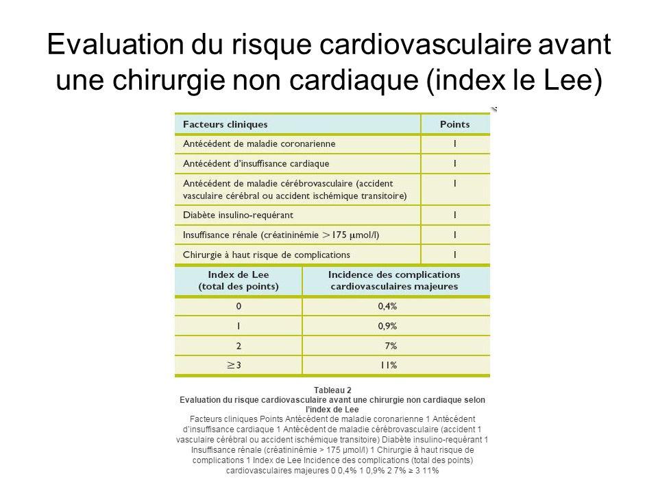 Evaluation du risque cardiovasculaire avant une chirurgie non cardiaque (index le Lee)