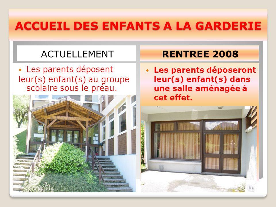 ACCUEIL DES ENFANTS A LA GARDERIE ACTUELLEMENTRENTREE 2008 Les parents déposent leur(s) enfant(s) au groupe scolaire sous le préau.