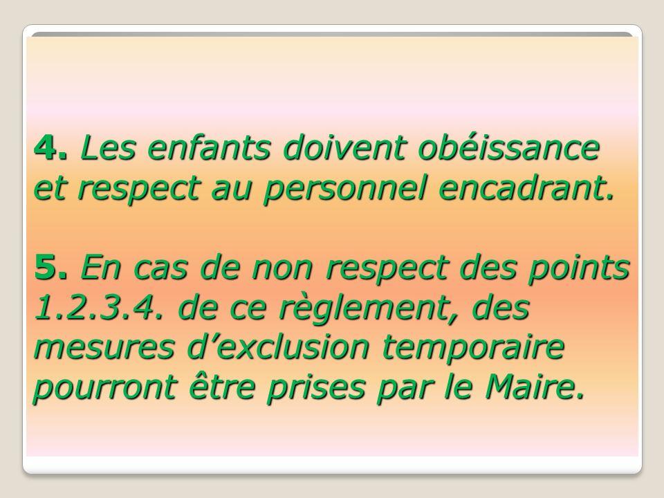4. Les enfants doivent obéissance et respect au personnel encadrant.