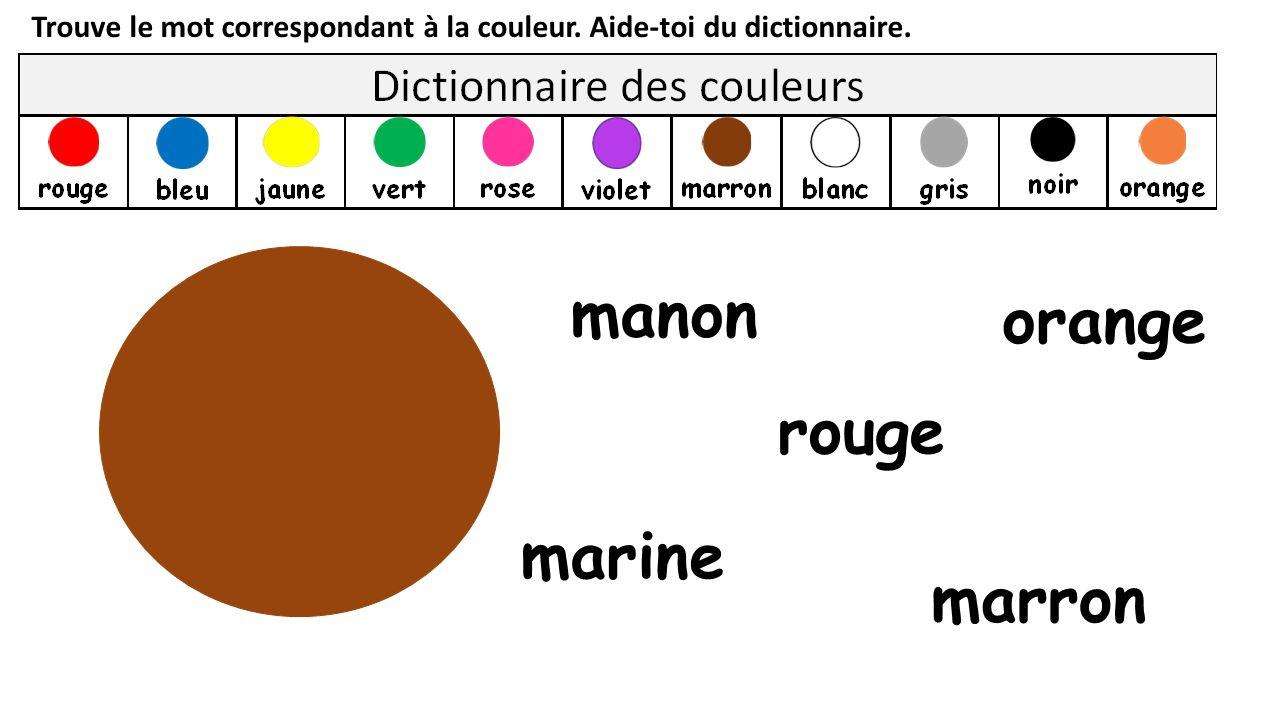 Trouve le mot correspondant à la couleur.Aide-toi du dictionnaire.