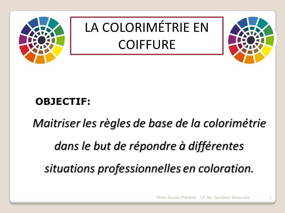 LA COLORIMÉTRIE EN COIFFURE OBJECTIF: Maitriser les règles de base de la colorimétrie dans le but de répondre à différentes situations professionnelles en coloration.
