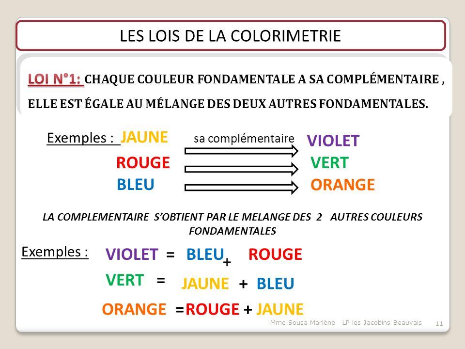 LES LOIS DE LA COLORIMETRIE LA COMPLEMENTAIRE S'OBTIENT PAR LE MELANGE DES 2 AUTRES COULEURS FONDAMENTALES Exemples : Exemples : JAUNE sa complémentaire ROUGE BLEU VIOLET VERT ORANGE VIOLET = BLEU VERT = JAUNE + BLEU ORANGE = ROUGE + JAUNE ROUGE + 11 Mme Sousa Marlène LP les Jacobins Beauvais