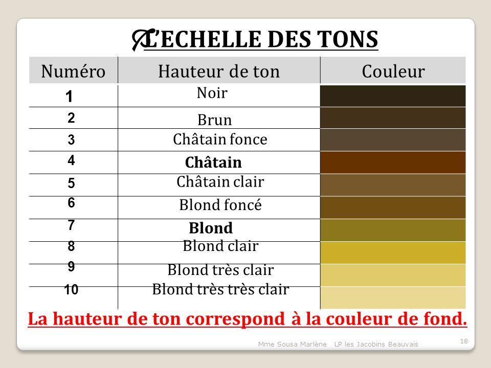 Mme Sousa Marlène LP les Jacobins Beauvais 18  L'ECHELLE DES TONS NuméroHauteur de tonCouleur La hauteur de ton correspond à la couleur de fond.