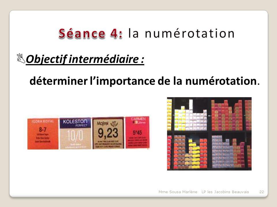 Mme Sousa Marlène LP les Jacobins Beauvais22  Objectif intermédiaire : déterminer l'importance de la numérotation.