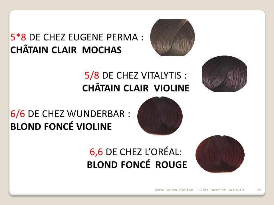 Mme Sousa Marlène LP les Jacobins Beauvais28 5*8 DE CHEZ EUGENE PERMA : CHÂTAIN CLAIR MOCHAS 5/8 DE CHEZ VITALYTIS : CHÂTAIN CLAIR VIOLINE 6/6 DE CHEZ WUNDERBAR : BLOND FONCÉ VIOLINE 6,6 DE CHEZ L'ORÉAL: BLOND FONCÉ ROUGE