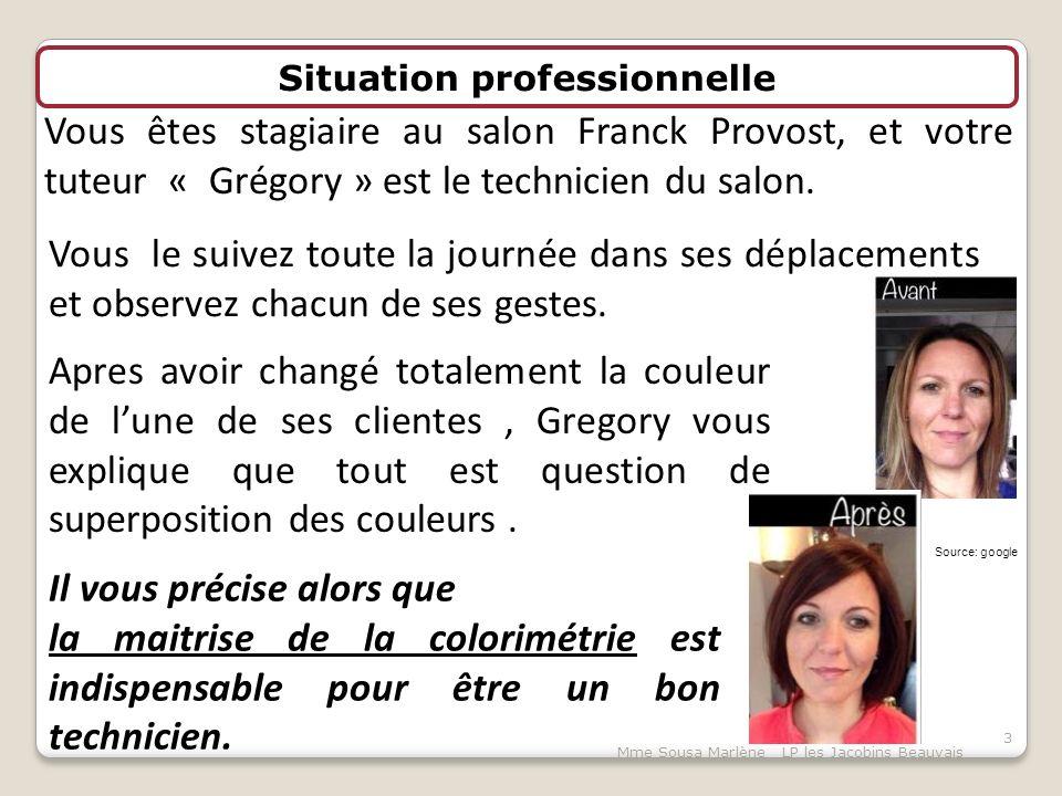 Situation professionnelle Vous êtes stagiaire au salon Franck Provost, et votre tuteur « Grégory » est le technicien du salon.