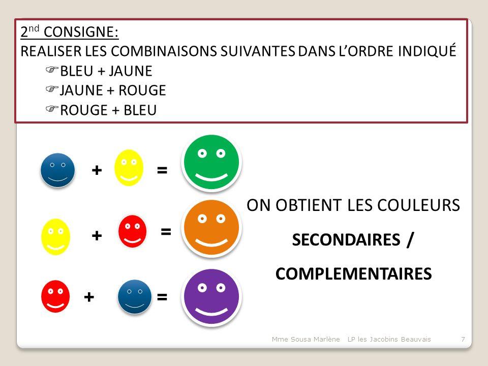 2 nd CONSIGNE: REALISER LES COMBINAISONS SUIVANTES DANS L'ORDRE INDIQUÉ  BLEU + JAUNE  JAUNE + ROUGE  ROUGE + BLEU ON OBTIENT LES COULEURS SECONDAIRES / COMPLEMENTAIRES 7Mme Sousa Marlène LP les Jacobins Beauvais += = = + +