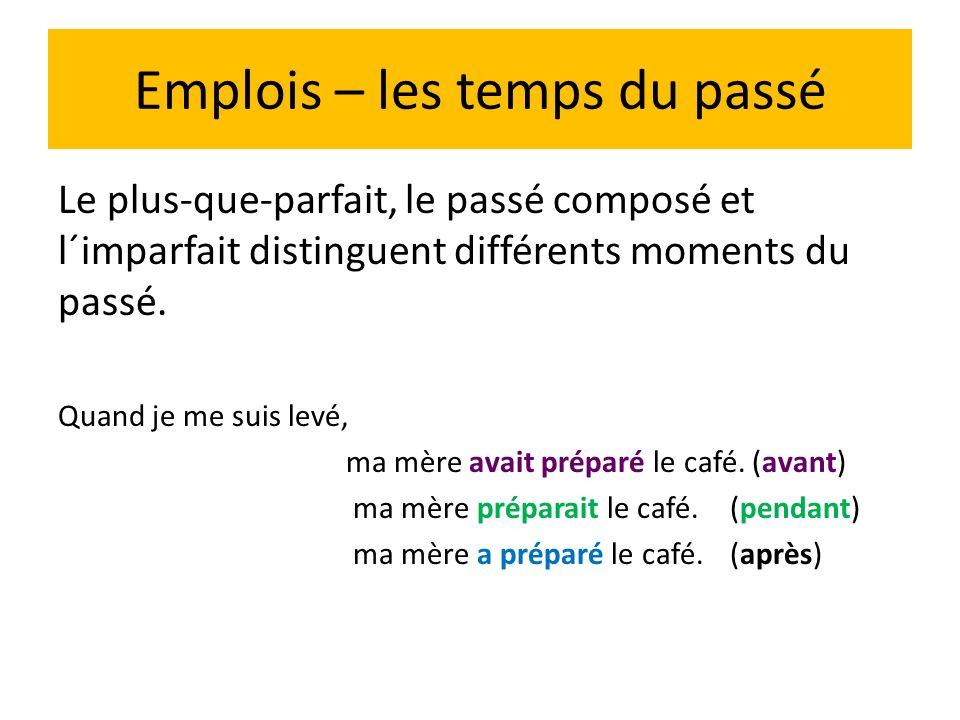 Emplois Le plus-que –parfait exprime aussi : - l´irréalité d´un fait avec la conjonction si Ex.