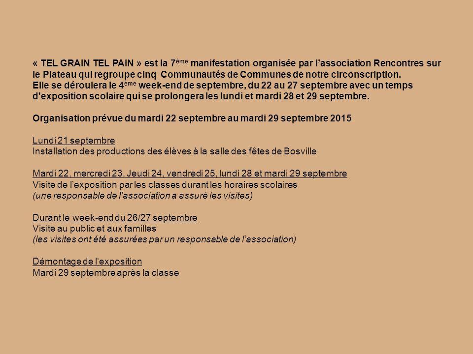 « TEL GRAIN TEL PAIN » est la 7 ème manifestation organisée par l'association Rencontres sur le Plateau qui regroupe cinq Communautés de Communes de notre circonscription.