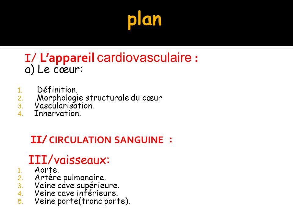I/ L'appareil cardiovasculaire : a) Le cœur: 1. Définition. 2. Morphologie structurale du cœur 3. Vascularisation. 4. Innervation. II/ CIRCULATION SAN