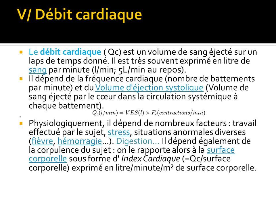  Le débit cardiaque ( Qc) est un volume de sang éjecté sur un laps de temps donné. Il est très souvent exprimé en litre de sang par minute (l/min; 5L