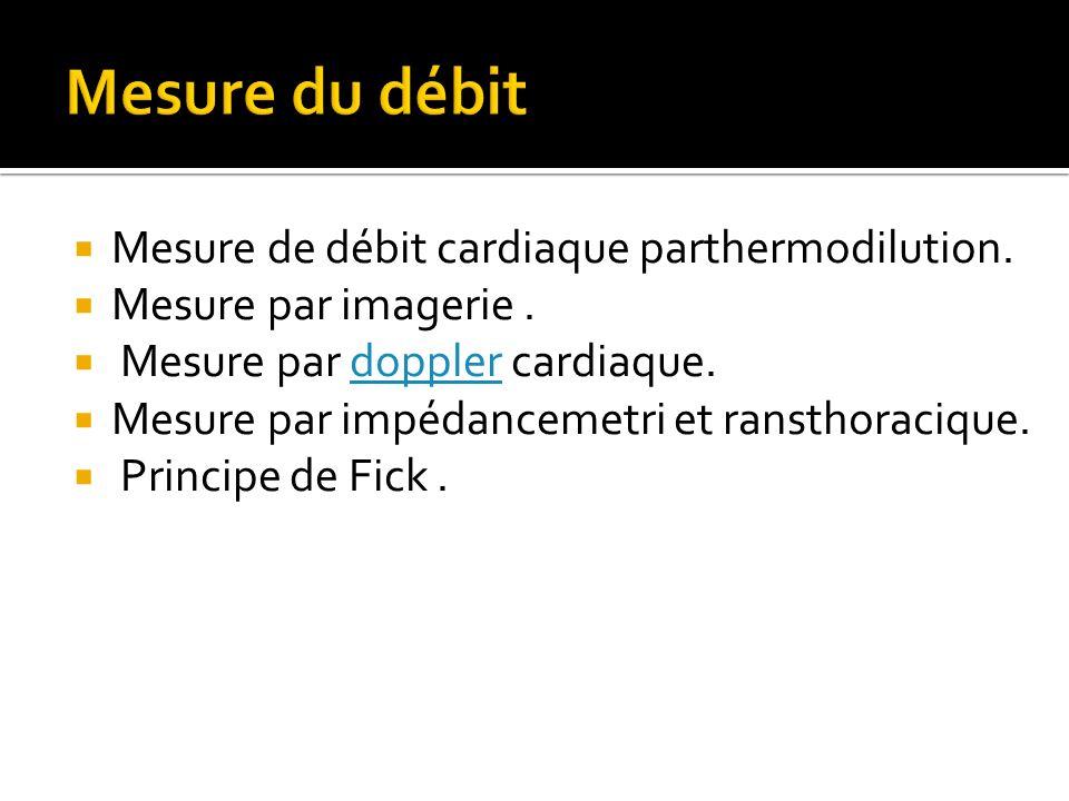  Mesure de débit cardiaque parthermodilution.  Mesure par imagerie.  Mesure par doppler cardiaque.doppler  Mesure par impédancemetri et ransthorac