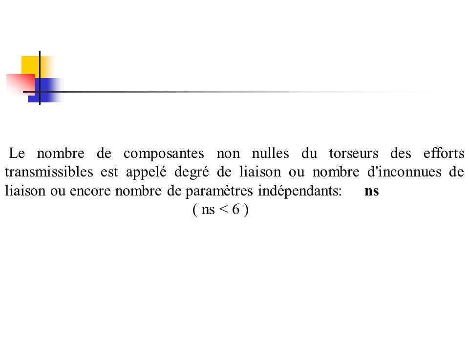 Le nombre de composantes non nulles du torseurs des efforts transmissibles est appelé degré de liaison ou nombre d inconnues de liaison ou encore nombre de paramètres indépendants: ns ( ns < 6 )
