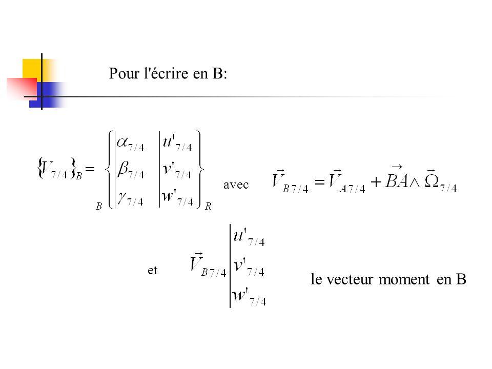 avec et le vecteur moment en B Pour l écrire en B:
