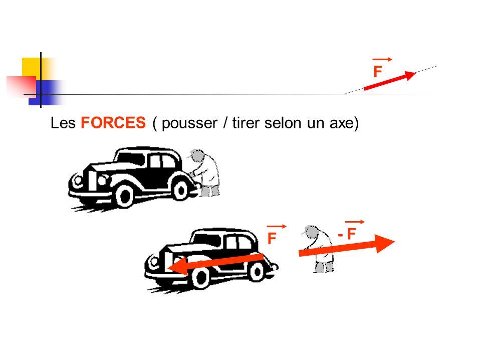 F Les FORCES ( pousser / tirer selon un axe) F - F