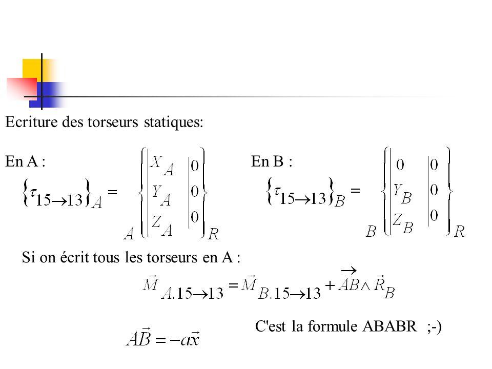 Ecriture des torseurs statiques: En A :En B : Si on écrit tous les torseurs en A : C est la formule ABABR ;-)