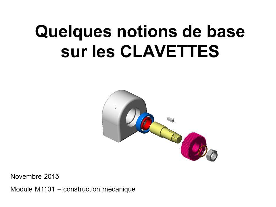 Quelques notions de base sur les CLAVETTES Novembre 2015 Module M1101 – construction mécanique