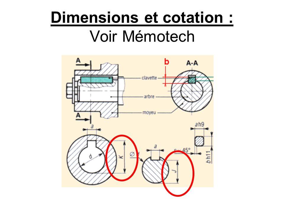 Dimensions et cotation : Voir Mémotech
