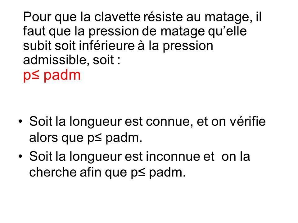 Soit la longueur est connue, et on vérifie alors que p≤ padm.