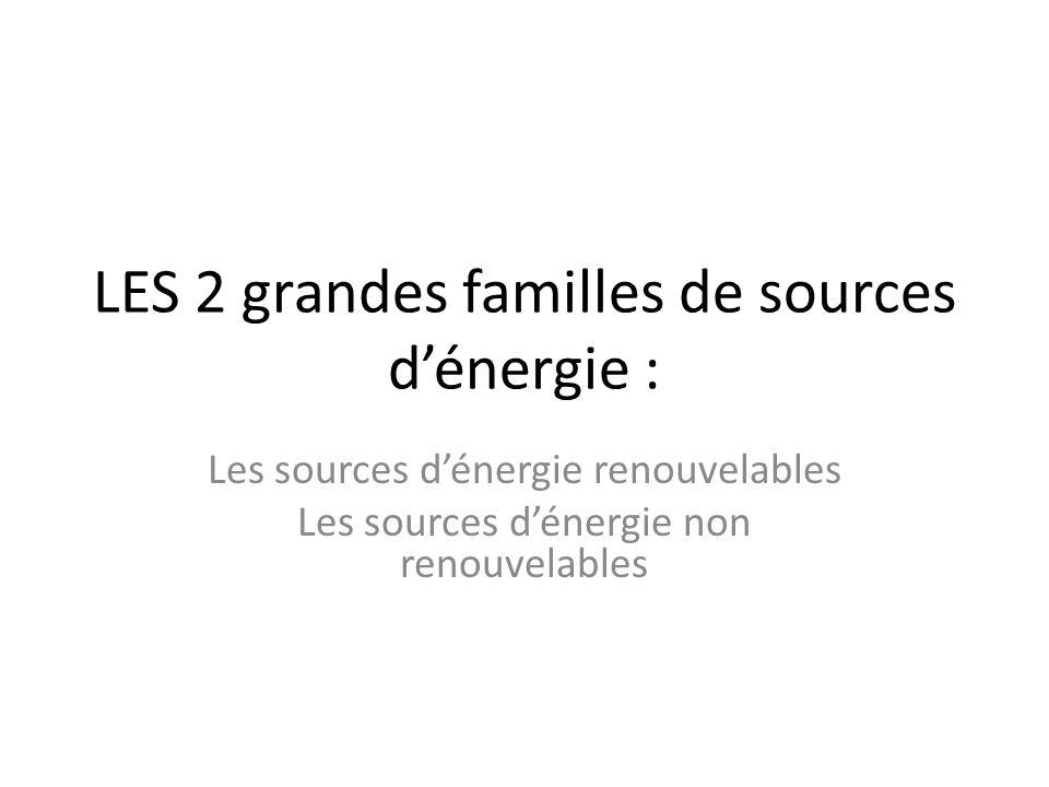 LES 2 grandes familles de sources d'énergie : Les sources d'énergie renouvelables Les sources d'énergie non renouvelables