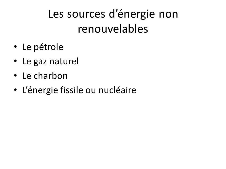Les sources d'énergie non renouvelables Le pétrole Le gaz naturel Le charbon L'énergie fissile ou nucléaire