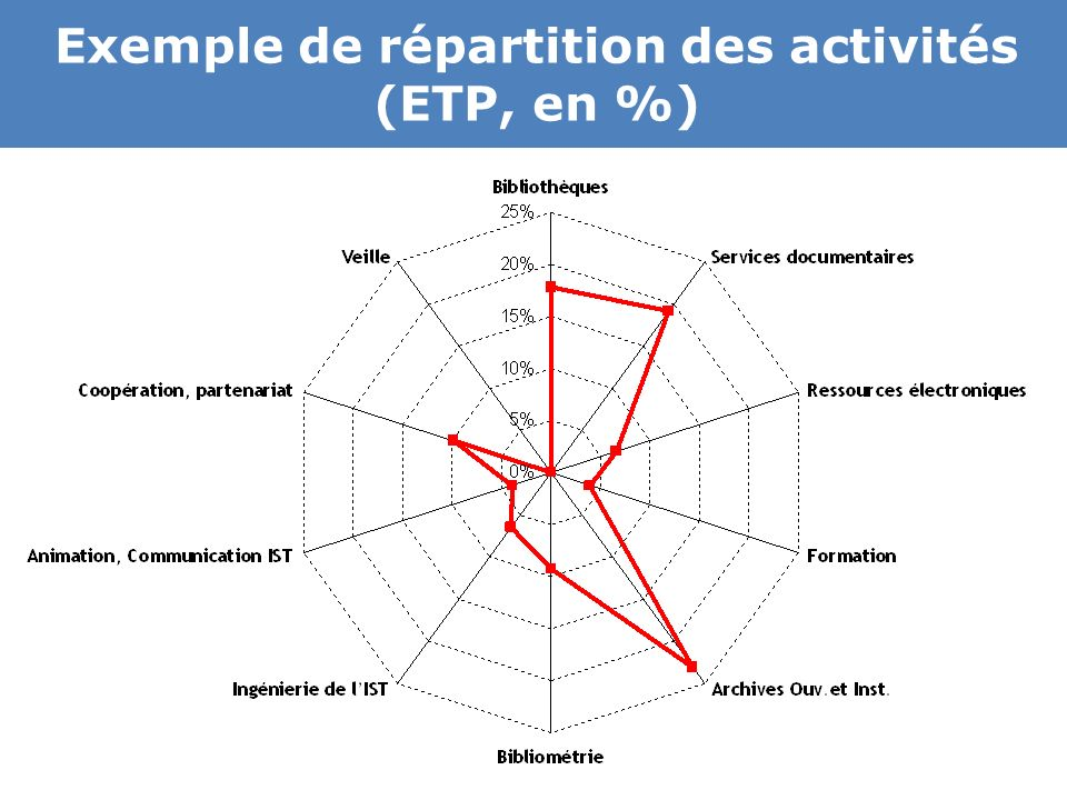 Exemple de répartition des activités (ETP, en %)