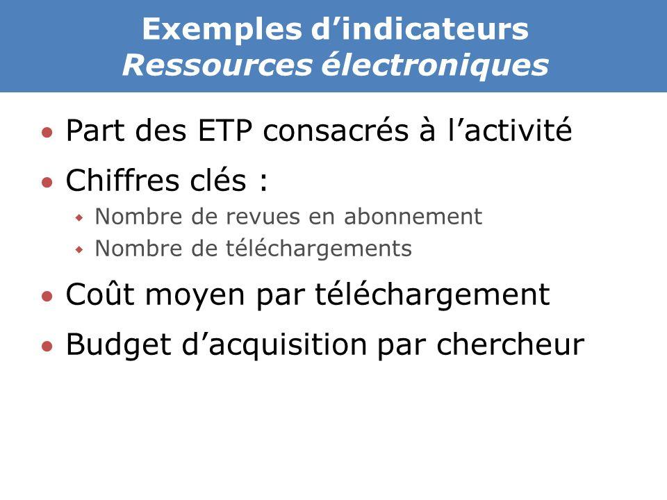 Exemples d'indicateurs Ressources électroniques Part des ETP consacrés à l'activité Chiffres clés :  Nombre de revues en abonnement  Nombre de téléchargements Coût moyen par téléchargement Budget d'acquisition par chercheur