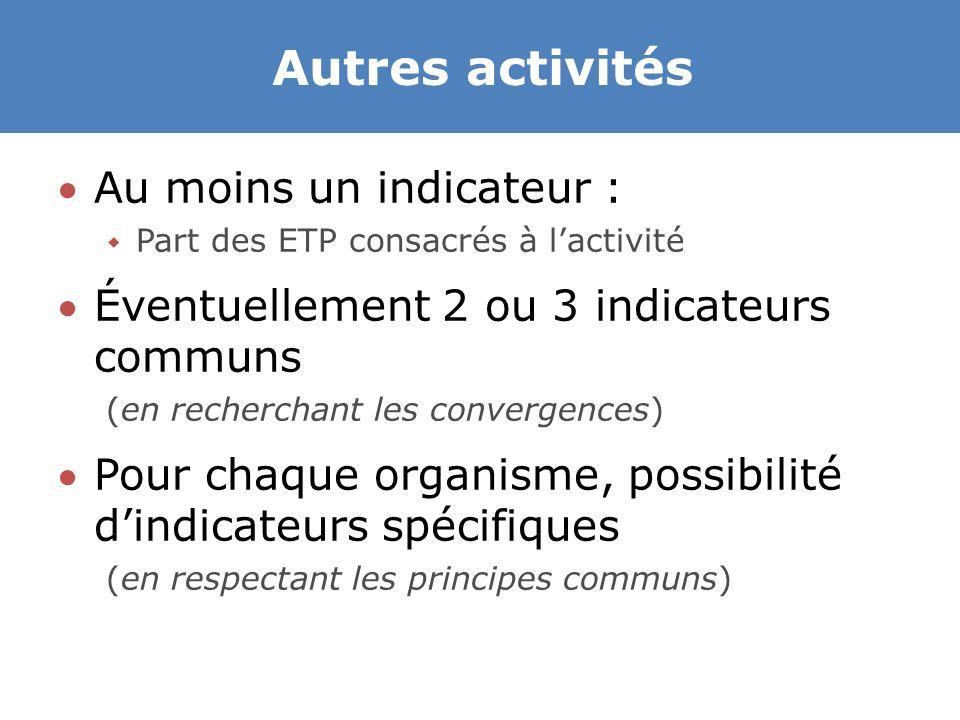 Autres activités Au moins un indicateur :  Part des ETP consacrés à l'activité Éventuellement 2 ou 3 indicateurs communs (en recherchant les convergences) Pour chaque organisme, possibilité d'indicateurs spécifiques (en respectant les principes communs)
