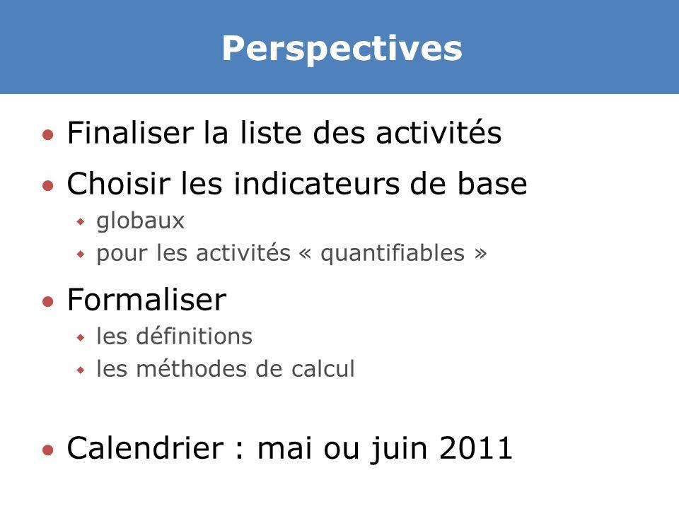 Perspectives Finaliser la liste des activités Choisir les indicateurs de base  globaux  pour les activités « quantifiables » Formaliser  les définitions  les méthodes de calcul Calendrier : mai ou juin 2011